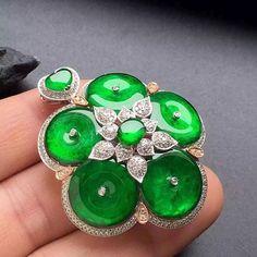 Jade and diamond pendant.