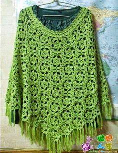 Crochet y Dos agujas: Poncho con diseño de hexágonos