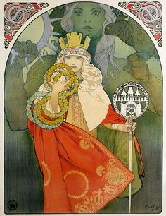 Alfons Mucha's Art Nouveau Works A selection of 130 Mucha's decorative paintings, illustrations, posters and advertisements, most from his Art Nouveau Parisian period (although he didn&… Art Nouveau Mucha, Alphonse Mucha Art, Art Nouveau Poster, Illustrator, Laurel, Moet Chandon, New Art, Vintage Posters, Tarot