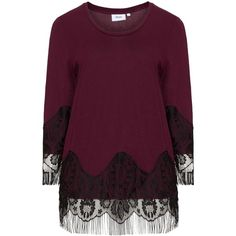 Zizzi Bordeaux-Red / Black Plus Size Lace detail top (175 PEN) ❤ liked on Polyvore featuring tops, purple top, lace detail top and zizzi