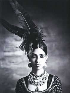Vintage photo of a headpiece with ostrich nandus