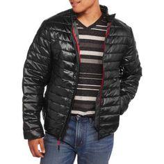 Men's Ultra Light Coated Nylon Puffer Jacket, Size: XL, Black