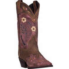 This boot features an 11  shaft with a cushion insole, snip toe, composition outsole, and a cowboy heel.
