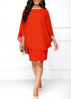 b8ad295c3bf Chiffon Overlay Round Neck Orange Red Dress