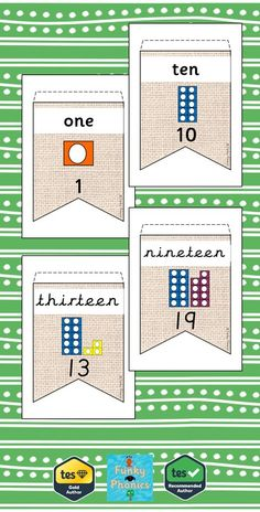 A set of number bunting with a neutral background. Each pendant has the number in words and digits with corresponding Numicon shape. Ideal to display in yo. Numicon Activities, Free Teaching Resources, Teaching Math, Teaching Ideas, Number Display Eyfs, Maths Display, New Classroom, Classroom Displays, Classroom Ideas