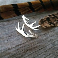 Sterling Sillver Antler ear climbers £20.00. Click image to buy. Click the link for more unique, boho style jewelry https://folksy.com/shops/HeartofStones #antler #earrings #antler#jewelry #stag #deer #earrings #earclimbers #rustic Jewelry #ooak #nature #sterlingsilver Earrings #unique Jewelry #womens Jewelry #nature Jewelry #bohostyle #bohemianstyle #bohemian#fashion