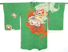 Vintage haori - Taisho period, peony and shishi hair motif.