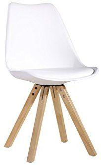 Chaise PP Avec Pieds En Bois 59x49xH80cm BLANC Amazonfr Cuisine Maison