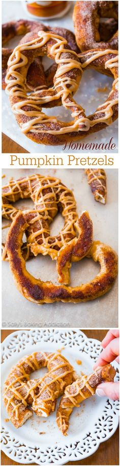Homemade Pumpkin Pretzels - soft pretzels are easy to make! Add a little pumpkin spice and a drizzle of sweet pumpkin praline glaze!