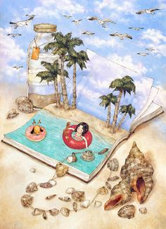 시원한 바다로 당장 떠나지 못해도 좋아요.  멋진 풍경이 그려진 책의 페이지를 펼치고, 그곳에 있다고 상상해 보는 거예요.  푸른 바다가 눈앞에 있는 것처럼 생생하게 떠오를 거예요.  It's alright if we don't make our way to the cool ocean right now. Open a book page with a wondrous illustration and imagine you are there. You will be able to imagine in vivid detail as if you are standing in front of the blue sea.