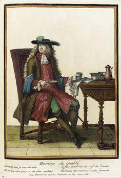 """1675-1685 French Fashion plate """"Recueil des modes de la cour de France, 'Homme de Qualité'"""" at the Los Angeles County Museum of Art, Los Angeles"""