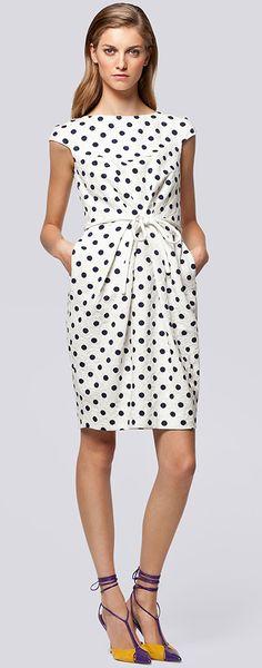 Carolina-Herrera-Coleccion-primavera-verano-2013-Polka Dot Cap Sleeve Dress Business Casual