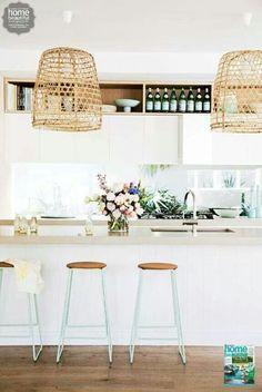 kitchen interior design interior decorating before and after decorating house design Home Interior, Kitchen Interior, New Kitchen, Kitchen Decor, Mint Kitchen, Pastel Kitchen, Kitchen Stools, Kitchen Island, Neutral Kitchen