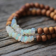 Opal Diamond Sandalwood Boho Beaded Bracelet / Flash Red by byjodi