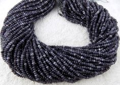 """5 Strand Black Rutile Chalcedony Faceted Rondelle Beads 3mm Gemstone 13.5"""" Long"""