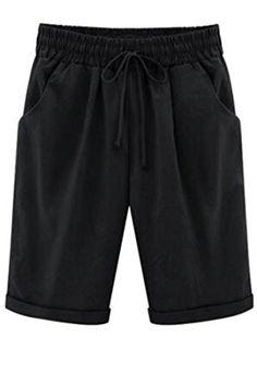 0955b9addf Etecredpow Womens Elastic Waist Loose Solid Summer Bermuda Casual Shorts