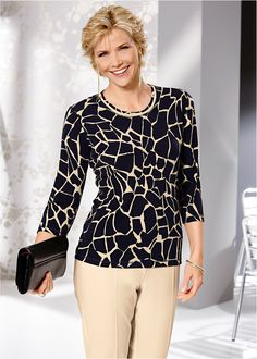 Blusa bege/preto encomendar agora na loja on-line bonprix.de  R$ 79,90 a partir de Descubra a fera em você! Blusa de mangas 7/8e decote redondo raso. Com ...
