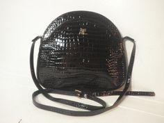 Vintage 1960's Courrèges Paris Designer Shoulder Bag // Black Croc Embossed Patent Leather Purse, Made in Italy