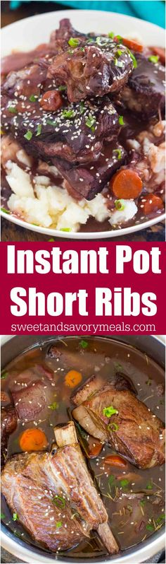 Best Instant Pot Short Ribs are juicy and fall of the bone, cooked in the most amazing garlic and wine sauce, and ready to eat in just 2 hours! #instantpot #pressurecooking #shortribs