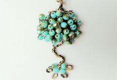 Turquoise tree of life pendant, nature inspired , original design by- banyasjewelry