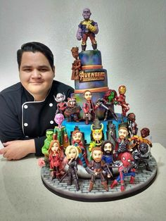 Can this be my birthday cake, please? Crazy Cakes, Pastel Avengers, Bolo Tumblr, Marvel Cake, Avenger Cake, Harry Potter Cake, Avengers Birthday, Rocket Raccoon, Disney Cakes