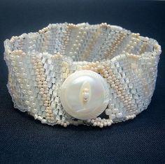 Beaded Freeform Cuff White Ivory Rebel Bride by playnwithbeads, $36.00   #freeformcuff  #freeformjewelry #bridaljewelry