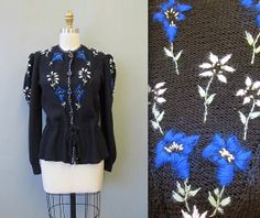 1980's Floral Embroidered Cardigan Sweater