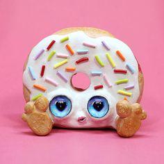 Donut Creature, Anthropomorphic Food Art by Jackie Harder, Doughnut Art Doll