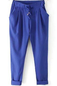 14.33 Royal Blue Elastic Drawstring Waist Pockets Pant