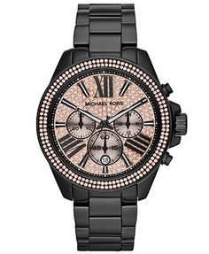LOVE.  MUST HAVE.  Michael Kors Women's Chronograph Wren Black-Tone Stainless Steel Bracelet Watch 42mm MK5879