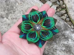 Peacock Feather Flower Hair Clip - Bridesmaids?  Etsy Shop TouchOfAWeepingAngel