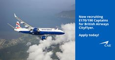 We have a great opportunity for E190 Captains with BA CityFlyer. Positions are based in London. Competitive salary,  accommodation provided, plus travel expenses & per diems. Get in touch for more details today!