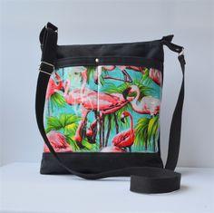 Black with cute retro pink flamingos vinyl double front pocket across body bag | UrbanTreeHouse Vintage&Craft | madeit.com.au #handmade #bag #flamingos #fabric