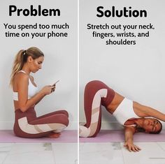 Yoga Burn Success on Are you always on your phone ! If so you may have noticed your fingers cramping, wrist pain, slumped shoulders and text neck from holding Yoga Bewegungen, Yoga Moves, Yoga Fitness, Workout Fitness, Band Workout, Exercise Bands, Relaxing Yoga, Flexibility Workout, Yoga For Beginners