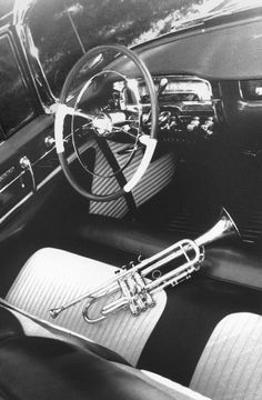 """William Claxton, Chet Baker's """"Ax"""" and his Caddy, 1954"""