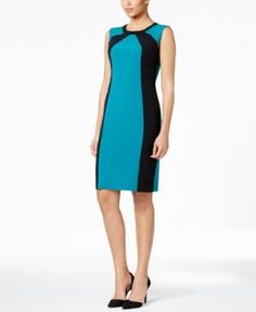 Nine West Colorblocked Sheath Dress - Green 10