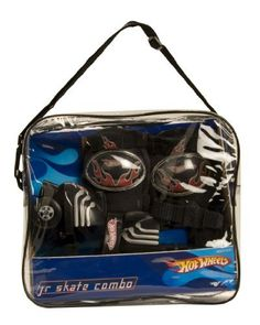 Disney Hot Wheels Junior Skate Combo in Vinyl Bag by Disney. $19.99. Our Disney Hot Wheels adjustable junior skate combo is perfect for the beginner skater with a 6-12 shoe size. The quad wheel is designed for maximum stability, toe brakes on both the left and right allow for quick and easy stops. Also included adjustable knee pads and a reusable vinyl storage bag.