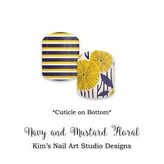"Navy and Mustard Floral:  If you want to get these beauties of your fingers and toes, head on over to my Jamberry Nail Art Studio Marketplace!  Simply click on the image above and it will direct you right to the listing!  To see more of my designs and some special sales, join my Facebook group ""Kim's Nail Art Studio Designs"" at www.facebook.com/groups/925106354278688 Thanks for the interest in my designs!"