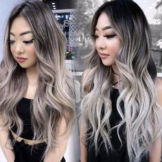 session ombré Balayage, root melt and faceframe for 6 months after. Used session Babylight vs. session ombré Balayage, root melt and faceframe for 6 months after. Asian Hair Balayage Ash, Ash Blonde Highlights On Dark Hair, Blonde Asian Hair, Balayage Ombré, Balayage Hair Blonde, Asian Ombre Hair, Guy Tang Balayage, Brunette Hair, Silver Ombre Hair