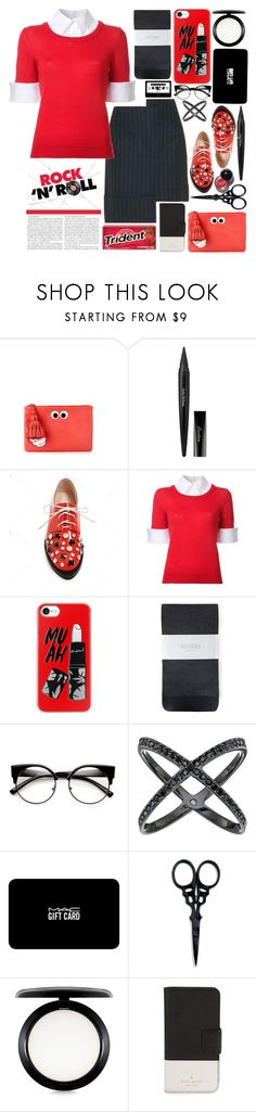 """Skirt N Jumper"" by emcf3548 ❤ liked on Polyvore featuring Anya Hindmarch, Guerlain, Mary Katrantzou, Casetify, Hobbs, Michael Kors, MAC Cosmetics, The BrowGal and Kate Spade"