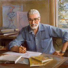 "Portrait of Theodore Geisel (""Dr. Seuss""), Everett Raymond Kinstler, x Collection of the Hood Museum, Dartmouth College. All rights reserved. - Norman Rockwell Museum - The Home for American Illustrati Great Books, My Books, Theodor Seuss Geisel, Stieg Larsson, Malcolm Gladwell, Writers And Poets, People Of Interest, Raining Men, Book Authors"
