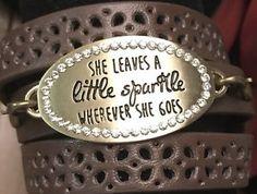 "Leather Wrap Bracelet Metal Stamped Plate ""she Leaves a Little Sparkle ...""  | eBay"