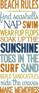 Silhouette Design Store - View Design #81426: beach rules list