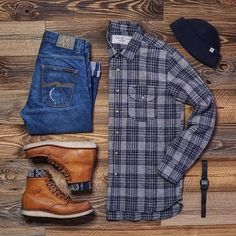 Casual Essentials in this Stylish Grid by @sel.vage Follow @stylishgridgame www.StylishGridGame.com Brands Shirt: @rgt Jeans: @nudiejeans Boots: @redwingheritage Socks: @chupsocks Watch: @casio.watches Hat: @knickerbocker - Men's #Fashion Trends and Latest Styles - Celebrities and Popular Culture - #Shopping Inspiration for Bargain Hunters - Fashionistas and Shopaholics - Haute Couture - Men's Apparel and Accessories - Advertising and Editorial #Photography - International Magazines -