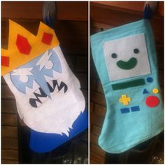 Adventure Time felt christmas stockings by SewSoGeeky on Etsy