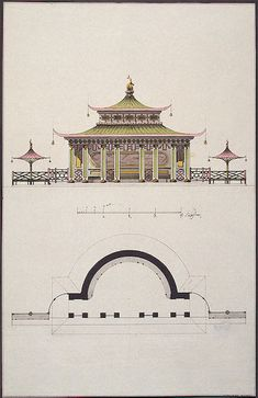 "Plan and Design of the Facade of a Chinese Pavilion  Neyelov, Ilya Vasilyevich.  Series of designs ""Pavilion in Chinese Style""    Pencil, pen, brush, Indian ink and watercolour. 48.3x34 cm  Russia. 1770s Hermitage"