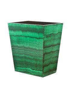 Malachite wastebasket by Dransfield & Ross.  (Easy to DIY with the right basic can)