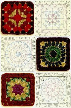 Terrific No Cost Granny Squares Pattern diagram Tips This specific easy granny sq pattern is a variance about the basic crochet nana square. Granny Square Crochet Pattern, Crochet Diagram, Crochet Chart, Crochet Squares, Crochet Motif, Crochet Designs, Crochet Stitches, Granny Squares, Point Granny Au Crochet