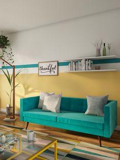 Olha que charme essa sala de estar mega colorida! O sofá azul turquesa deu up no visual do ambiente. Sofas Vintage, Couch, Baby, Inspiration, Furniture, Design, Home Decor, Turquoise Sofa, Colourful Living Room
