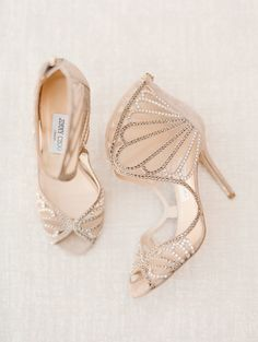 nude sparkly Jimmy Choo wedding shoes from Yountville California wedding featured in Trendy Bride's Summer Fall 2015 issue. #trendybride